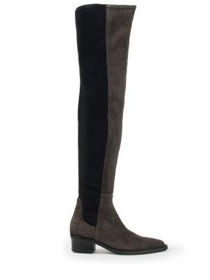 Комбинированные ботфорты HIGH. Цвет: серый