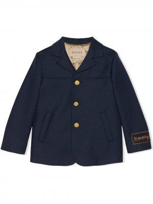 Однобортный пиджак Gucci Kids. Цвет: синий
