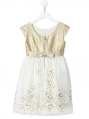 Платье с короткими рукавами и цветочной вышивкой Lesy. Цвет: золотистый