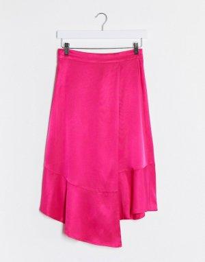 Розовая атласная асимметричная юбка -Розовый Gestuz