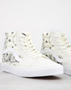 Белые высокие кроссовки с черным узором в стиле банданы SK8-Белый Vans