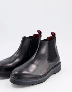 Черные кожаные ботинки челси на массивной подошве -Черный цвет Base London
