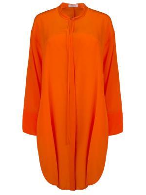 Шелковая туника DOROTHEE SCHUMACHER. Цвет: оранжевый