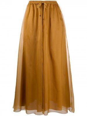 Многослойная юбка с завязками на талии Luisa Cerano. Цвет: коричневый