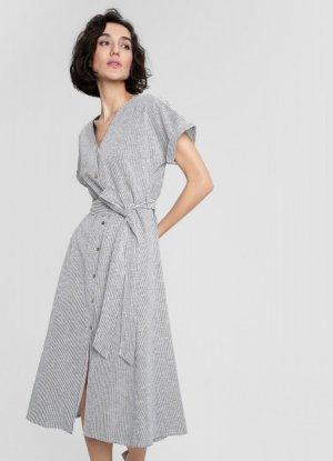 Платье миди из структурного льна O`Stin. Цвет: графитовый
