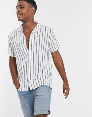 Белая рубашка в полоску с короткими рукавами -Белый Abercrombie & Fitch