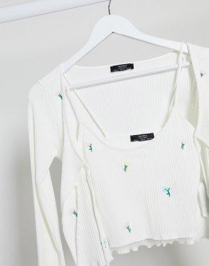 Белые майка и кардиган с цветочной вышивкой -Белый Bershka