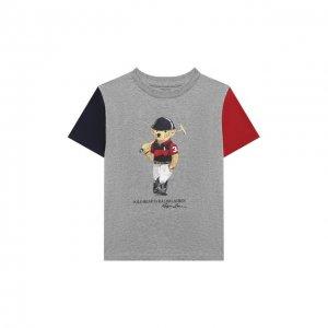 Хлопковая футболка Polo Ralph Lauren. Цвет: серый