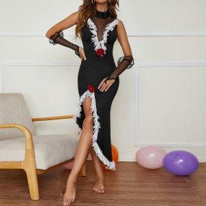 3шт танцевальное платье SHEIN. Цвет: чёрный