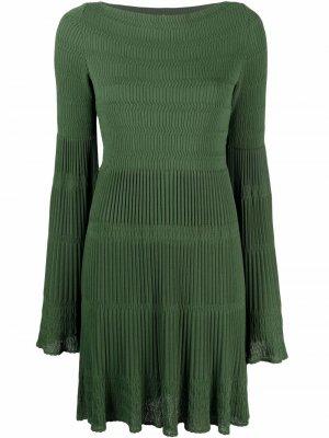 Расклешенное платье в рубчик Alaïa Pre-Owned. Цвет: зеленый