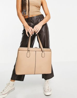 Серо-коричневая уплотненная сумка на плечо для ноутбука Harriet-Коричневый цвет Forever New