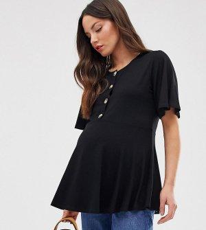 Свободный черный топ для кормления с пуговицами спереди и расклешенными рукавами ASOS DESIGN Maternity - Nursing