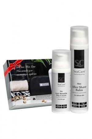 Подарочный мужской набор №3, Бальзам после бритья 100мл и Антивозрастной крем для лица 50мл, SeaCare. Цвет: черный