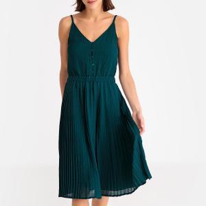 Платье летнее с плиссировкой и бретелями LISBON SESSUN. Цвет: зеленый
