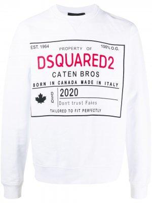Logo cotton sweatshirt Dsquared2. Цвет: белый