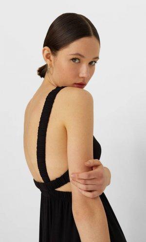 Длинное Платье С Открытой Спиной Черный Xl Stradivarius. Цвет: черный