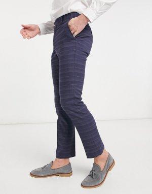 Темно-синие костюмные брюки в клетку узкого кроя -Темно-синий French Connection