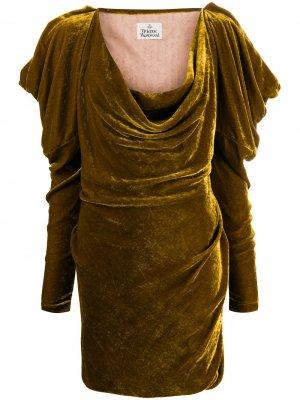 Платье мини с длинными рукавами Vivienne Westwood. Цвет: золотистый