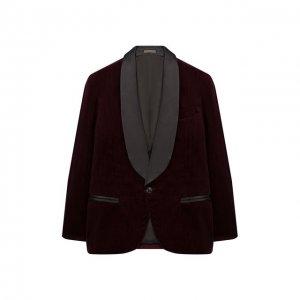 Хлопковый пиджак Brunello Cucinelli. Цвет: красный