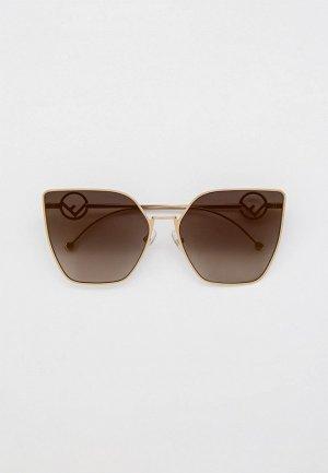 Очки солнцезащитные Fendi FF 0323/S FT3. Цвет: золотой