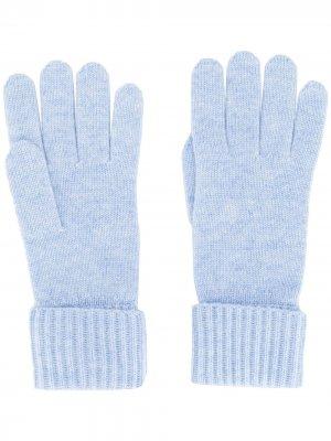 Трикотажные перчатки в рубчик N.Peal. Цвет: синий
