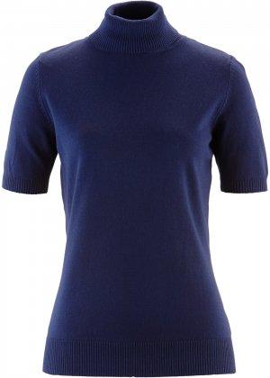 Пуловер с коротким рукавом bonprix. Цвет: синий