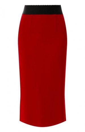 Юбка-миди Dolce & Gabbana. Цвет: бордовый
