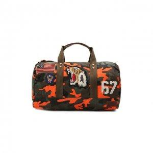 Текстильная дорожная сумка Polo Ralph Lauren. Цвет: хаки