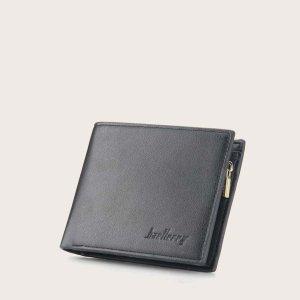 Мужской маленький кошелек с текстовым принтом SHEIN. Цвет: чёрный