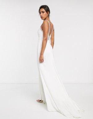 Свадебное платье с V-образным вырезом и кристаллами на бретельках -Белый ASOS EDITION