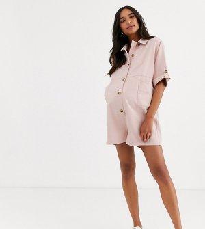 Светло-розовый ромпер в стиле casual на пуговицах с карманами ASOS DESIGN Maternity