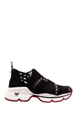 Черные кроссовки с шипами 123 Run Christian Louboutin. Цвет: черный