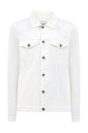 Джинсовая куртка из легкого денима с объемными швами ELEVENTY. Цвет: белый