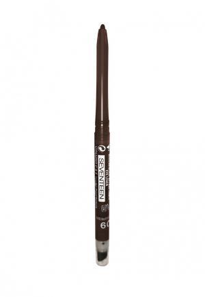 Карандаш для глаз Seventeen автомат с точилкой+спонж т. 03 TWIST LINER Темно-коричневый. Цвет: коричневый