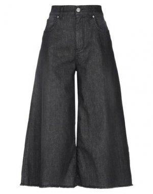 Джинсовые брюки-капри P_JEAN. Цвет: черный