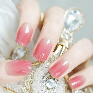 24шт градиентные накладные ногти и двухсторонняя лента SHEIN. Цвет: розовые