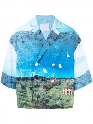 Двубортная рубашка с фотопринтом Off Duty. Цвет: синий