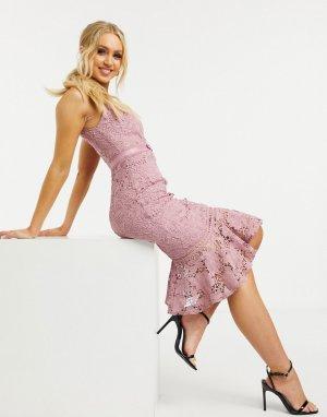 Сумеречно-розовое платье миди -Розовый цвет Lipsy