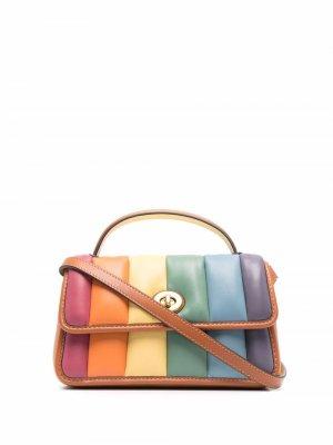 Rainbow-quilted turnlock clutch 20 Coach. Цвет: оранжевый