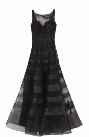 Приталенное платье-макси с вышивкой Basix Black Label. Цвет: черный