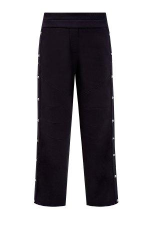 Хлопковые брюки с аппликацией из бархата BALMAIN. Цвет: черный