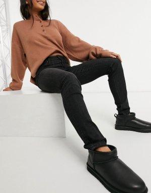 Черные выбеленные джинсы с завышенной талией Lee Scarlett-Черный Jeans