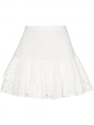 Юбка мини Natalie с английской вышивкой Charo Ruiz Ibiza. Цвет: белый
