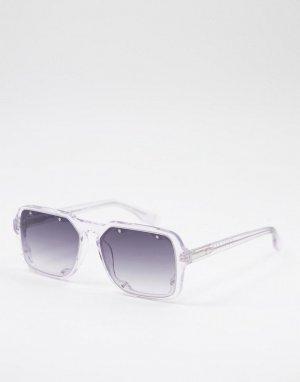 Квадратные солнцезащитные очки в стиле унисекс прозрачной оправе Cut Thirteen-Прозрачный Spitfire