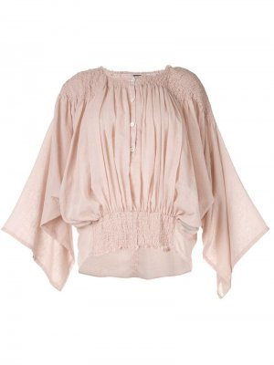 Блузка со сборками Ann Demeulemeester. Цвет: розовый