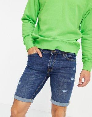 Темно-синие зауженные джинсовые шорты с рваной отделкой Intelligence-Голубой Jack & Jones
