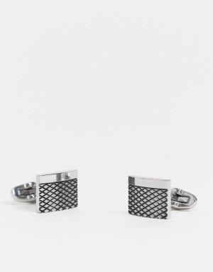 Прямоугольные серебристые запонки из нержавеющей стали с фактурной отделкой -Серебристый ASOS DESIGN