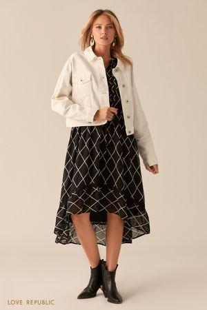 Укороченная oversize куртка из белого денима LOVE REPUBLIC