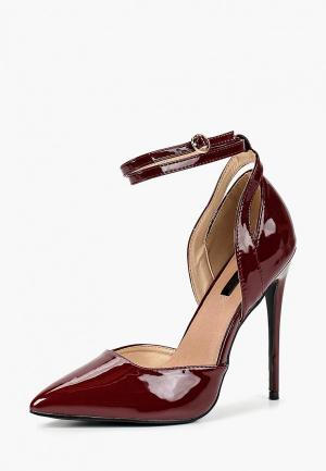 Туфли LOST INK MIXED TEXTURE ANKLE STRAP COURT. Цвет: бордовый