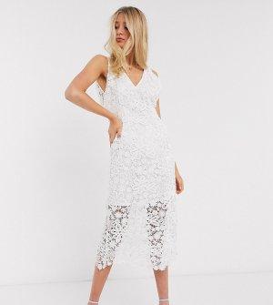 Белое кружевное свадебное платье миди -Белый Y.A.S Tall